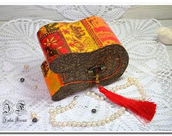 Exclusive wood box wooden jewelry box orange box storage box keepsake box gift wedding ring box birthday gift box for her gift trinket box