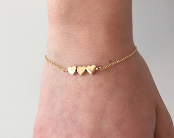 New Little Heart Gold Bracelet with Three Tiny Heart Charms