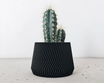 Minimalist Geometric Black Ebony Wooden Planter for your succulents or cacti  / gift idea for her or him