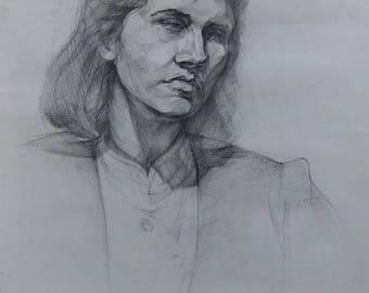 Original  Drawing Academical  Drawing Vintage  DarkTone Picture,Pencil Paper Gift Portrait Young Komsomol member
