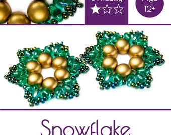 """Exclusive beading Kit for making two jewelry DIY """"Snowflake"""" (Gold-Green) (SNW004)"""