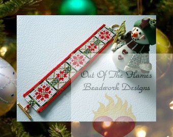 Bead PATTERN Christmas Cuff Bracelet loom or square stitch