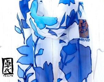 Blue Silk Scarf Handpainted, Blue Hawaiian Sky Floral Scarf. SIlk Chiffon Scarf. Silk Scarves Takuyo. 7x50 in. Made to order.