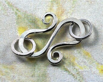 Handmade Silver S Hook Clasp with Jumprings - 18 gauge