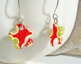 Petite Red Cherry Blossom Earrings