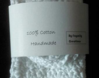 Handmade 100% Cotton White Washcloth/facecloth and Scrubbie set