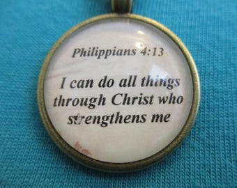 Bible Verse Necklace - Scripture Necklace - I Can Do All Things Through Christ - Bible Verse Philippians 4:13 - Gift Box Included