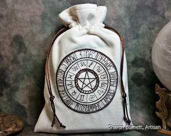SALE ITEM - Pagan Wheel of Seasons Embroidered Cotton Velvet, Drawstring Tarot Pouch, Tarot Bag, Zodiac Wheel, Wiccan Seasons, Rune Bag