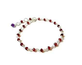 Garnet Bracelet, Sterling Silver Bracelet, Ruby Red, Garnet, Amethyst, Gemstone Bracelet, January Birthstone, Red Gemstone, Red Bracelet