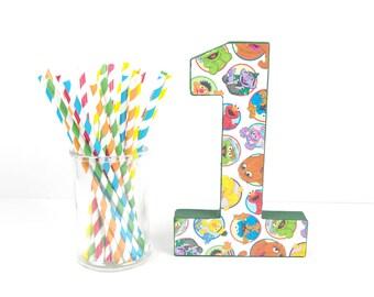 Sesame Street Paper Straws - Set of 25 Straws - Red, Yellow, Blue, Green and Orange Birthday Party - First Birthday - Elmo Big Bird Oscar