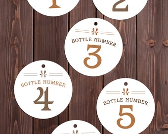 BOURBON tasting bottle number tags 1 - 9 INSTANT DOWNLOAD printable