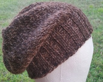 Slouch Hat, Beanie, Beret, Stocking Cap, Tam Caramel Brown Beige Marl Natural not dyed multicolored Baby Alpaca Merino Blend
