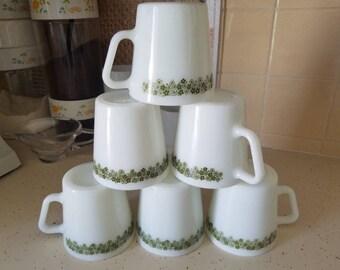 Vintage Set of 6 Pyrex Spring Blossom Crazy Daisy Coffee Mugs