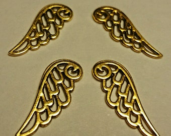 Wing Charms - 10 pc. - Angel Wing Charms - Gold Lacy Wings - Gold Wings - Lead Free - Lead Free Charms - Gold Wing Charms
