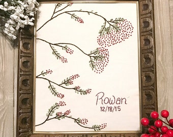 Rowan Tree Frameable Embroidery Art - Personalized Nursery Gift - Baby Shower Gift  - Baby Measurements Gift