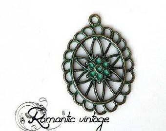 2 gorgeous pendants connectors crimp, patinated verdigris metal 44 * 32mm