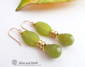 Green Jade Earrings, Stone Drop Earrings, Jade Jewelry, Gemstone Dangle Earrings, Natural Stone Jewelry, Green Earrings, Spring Jewelry