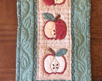 Vintage small patchwork and quilted wall hanging-quilt of apples