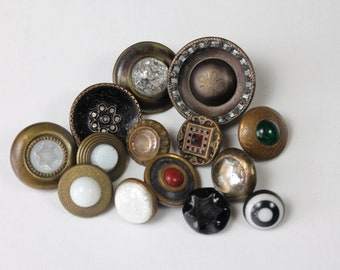 Antique Button Lot, Victorian Edwardian Buttons, Charm String Waistcoat, Crackle Glass Swirl Back Buttons, Glass and Metal Buttons