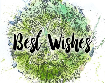 Best Wishes green bouquet Greeting Illustration Art Card - blank inside