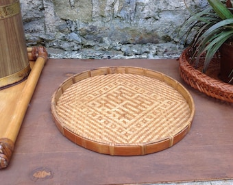 Round Bamboo Tray - Wicker Basketweave Trays - Woven Baskets Boho Jungalow Home Decor Basket Wall Art Vanity Trinkets Tropical Bohemian