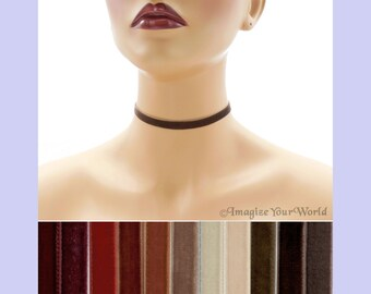 Brown Velvet Choker 3/8 inch wide Custom made Your Length and Color shade (approximate width 0.375 inches; 9 - 10 mm) elastic colors noted