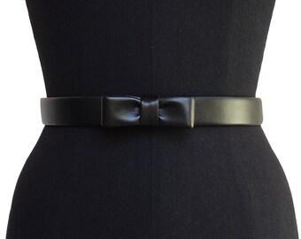 Leather Mini Bow Belt | Faux Leather | Black Leather Belt | Designer Belt | Vegan Leather Belt | Bow Belt