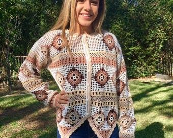 Knit sweater,cardigan sweater,boho sweater,crochet,tan,off white,Large