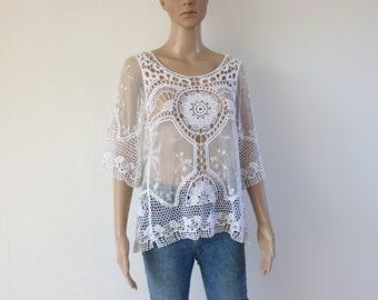 1960's style crochet white top
