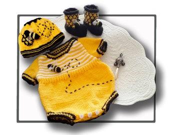 Honey Bee Romper, Booeties and Beanie