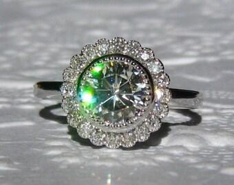 Moissanite Engagement Ring, Moissanite and Diamond White Gold Milgrain Bezel Daisy Engagement Ring