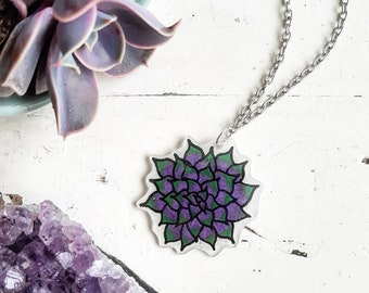 Succulent Necklace // Succulent Jewellery // Cactus Necklace // Cactus Jewellery // Cactus // Nature Lover // Plastic Necklace