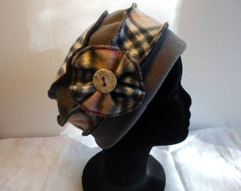 Gray Plaid fleece Hat Cap