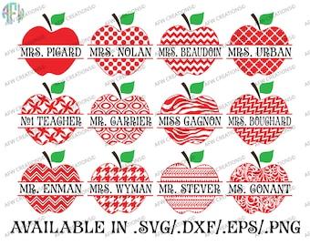 Digital Cut Files, Pattern Split Apples, SVG, DXF, EPS, Teacher, School, Appreciation, Preschool, Kindergarten, Silhouette, Cricut