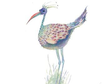 Crane - Alone Together - Original Watercolour Pencil Drawing- 8 x 6 inch - Print