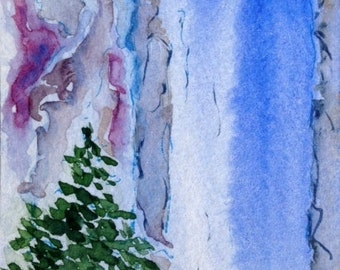 Original Watercolor ACEO Art Card, Waterfall,  Evergreen Trees