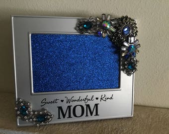 Refuced....Jeweled Picture Photo Frame and Wall Hanging for Mom in Blues Golds and Silvers