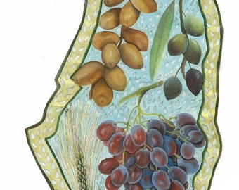 Seven Fruits and Grains of Israel Poster (white background)