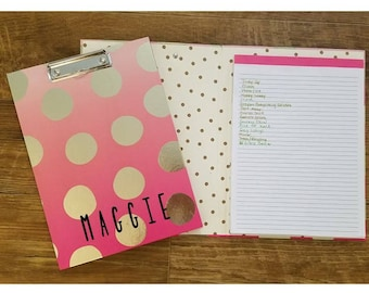 Pink and Gold Polka Dot Personalized Clipfolio