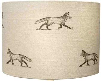 Lampshade ~ Fox Lampshade ~ Fox Linen ~ Fox Fabric ~ Wildlife ~ Nature ~ Fox ~ Light shade ~ Lighting