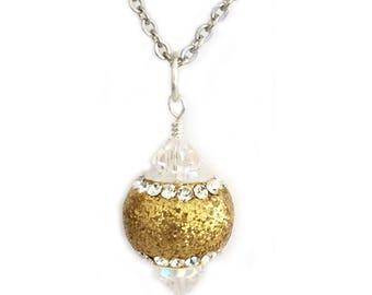 Gold Glitter Pendant Necklace for Women or Teen Girls