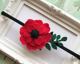 Red Poppy Felt Headband, Poppy Hair Clips, Poppy Hair Accessories, Lapel Flower, Poppy Flower Brooch, Red Mini Hair Clip, Baby Headbands