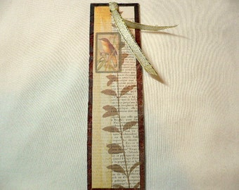 Beautiful Handmade One Of A Kind Bookmark, Bird, Leaves, Plant Stem, Yellow Ribbon with Gold Edges