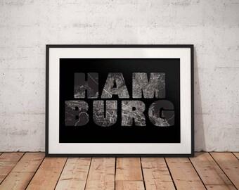 Hamburg - A4 / A3 print - MapInBlack