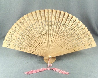 Intriguing Hand Held Fan // Very Thin Wood // Hand Carved // Fancy Design // No Damage