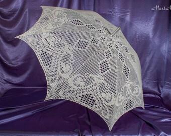 """Lace umbrella """"Rhapsody"""", Umbrella Sunshade, Crochet Umbrella, Bridal Umbrella, Wedding Lace Parasol, Wedding Photo Props"""