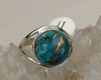 Copper Blue Turquoise Ring Size 11