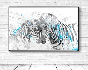 Zebra Art Print, Zebra Art, Zebra Decor, Zebra Printable, Digital Zebra, Large Wall Decor,Blue Zebra, DIY Wall Art, Zebra Painting, Instant