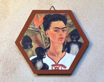 Frida Kahlo with monkeys, terra-cotta tile, to hang or display
