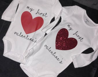 "Valentine's Shirts (Newborn-Youth) Long Sleeve/Short Sleeve ""My First"" ""Happy Valentine's Day"" ""Heartbreaker"""